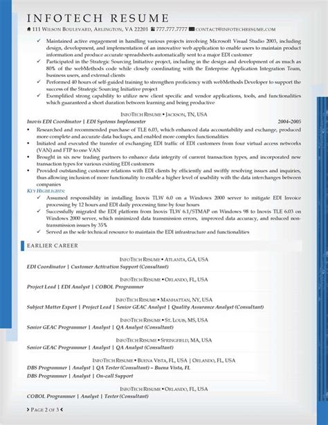 Sle Resume For Experienced Software Engineer In Mainframe It Resume Sles Infotechresume
