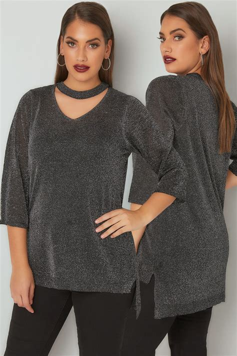 Hoodie Jumper Brembo Master Rem black silver metallic knit top with choker neck plus size 16 to 32