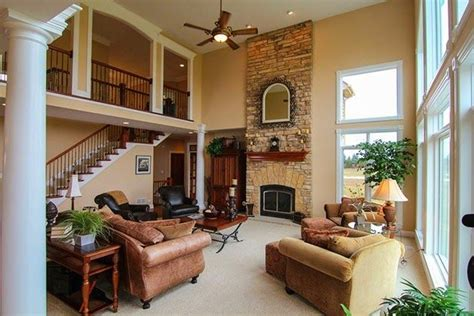 house design living room upstairs gorgeous great rooms love the two story stone fireplace