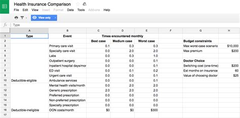 Health Insurance Comparison Spreadsheet by Spreadsheet For Picking A Healthcare Plan Business Insider
