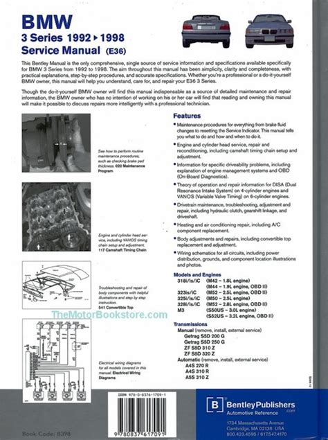 motor repair manual 1997 bmw 3 series spare parts catalogs bmw 3 series e36 repair manual 1992 1998 m3 318i 323i 325i 328i