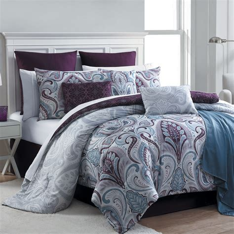 bedroom comforters sets essential home 16 piece complete bed set bedrose plum