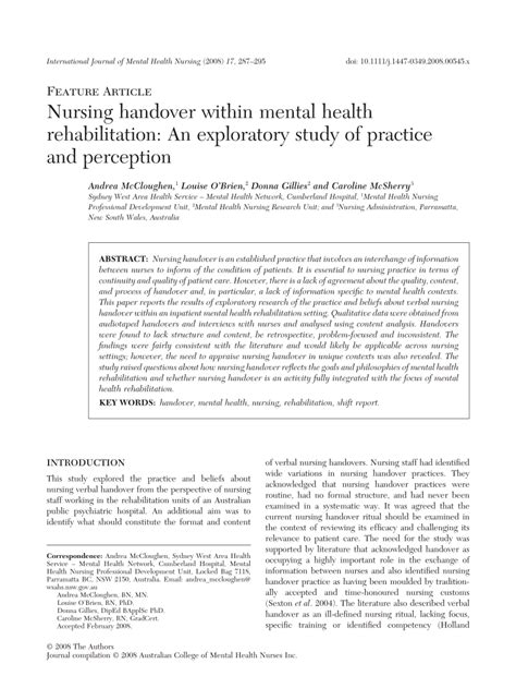Rehabilitate Or Essay by Nursing Handover Within Mental Health Rehabilitation An Exploratory Study Of Practice And