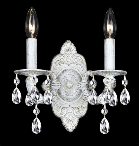White Sconces Sutton Collection Antique White Two Light Wall Sconce