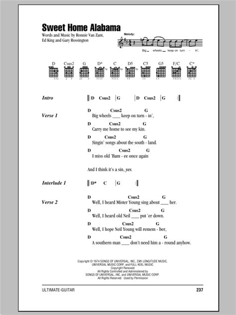 sweet home alabama sheet by lynyrd skynyrd lyrics