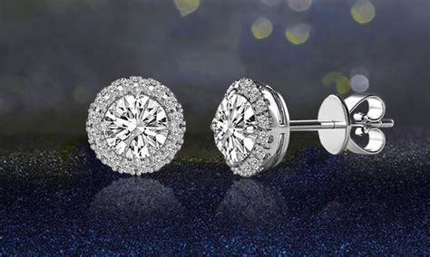 Swarovski Elements Stud Earring 3 44 cttw halo stud earrings with swarovski elements
