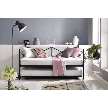 mainstays monaco daybed and trundle black with a set of 2 mattresses walmart
