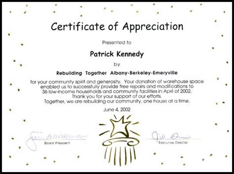 Housing Designs 2002 certificate of appreciation panoramic interests