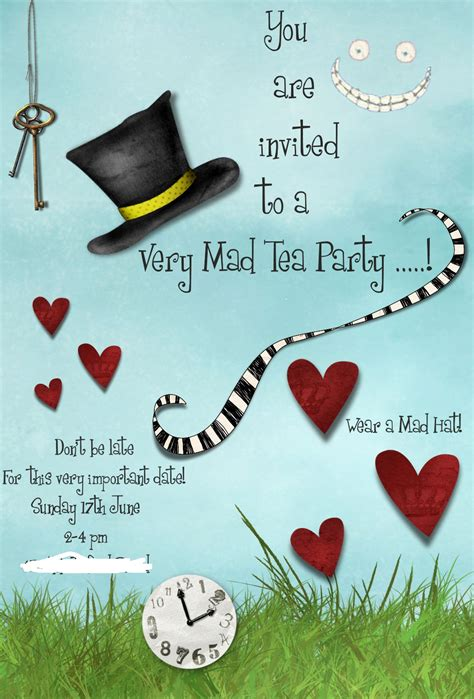 Mad Hatter Hat Card Template by Mad Hatters Tea Invitation Template Free Tea