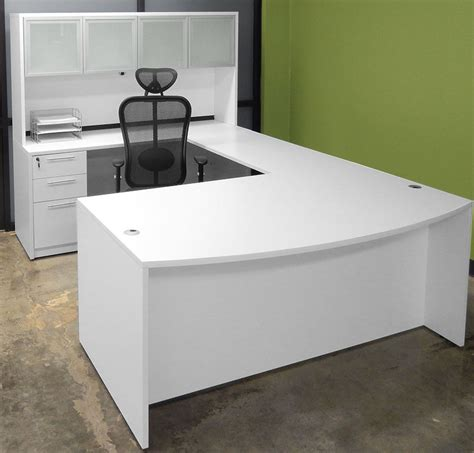 Large White Office Desk White U Shaped Workstation W Hutch