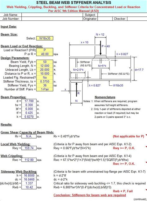 Steel Beam Design Spreadsheet by Stiffner By Alex Tomanovich Http Www Cesdb