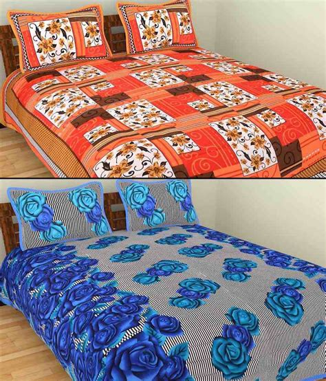indian bed sheets grj india multicolour cotton 2 bed sheets with 4 pillow