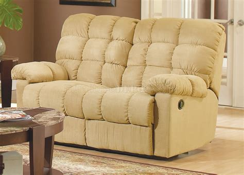 Tan Microfiber Fabric Modern Reclining Sofa W Optional Items
