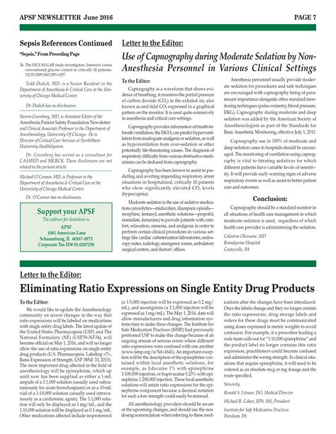 Patient Safety Letter Napa Doctor S Letter To The Editor Featured In Anesthesia Patient Safety Foundation June 2016