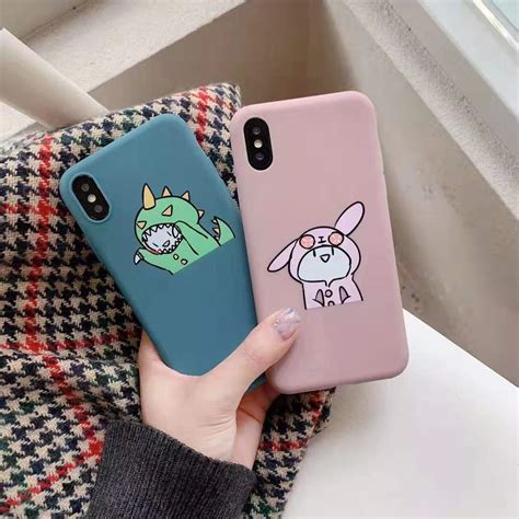 stylish cute cartoon dinosaur phone case  iphone  xs max xr funny couple set  iphone