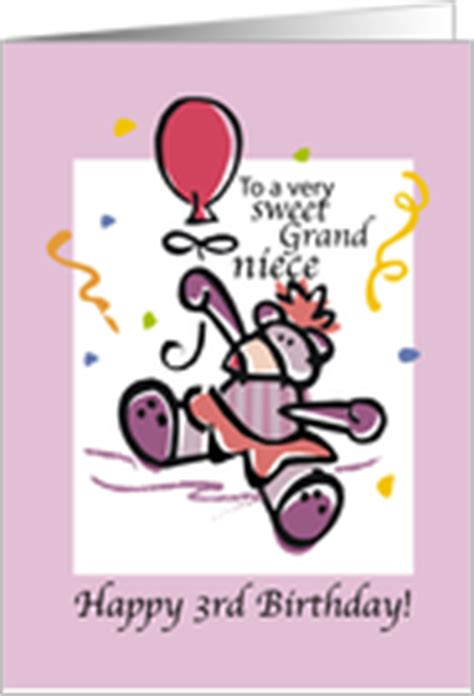 Happy 3rd Birthday Niece Quotes Age Specific Birthday Cards For Grandniece From Greeting