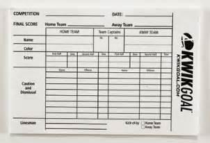 Football Referee Game Card Template Kwik Goal Soccer Referee Score Sheets Kwik Goal 15b1301