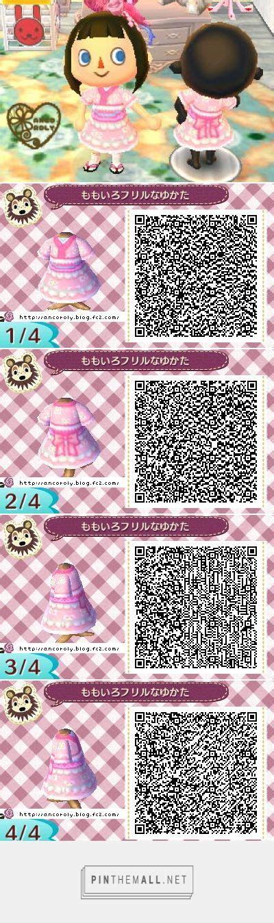 kimono pattern animal crossing cute frilly pink summer kimono animal crossing qr