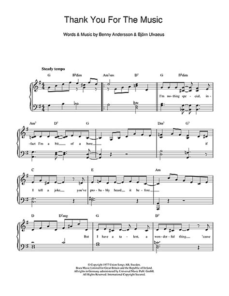 Thank You For The Music sheet music by ABBA (Piano & Vocal
