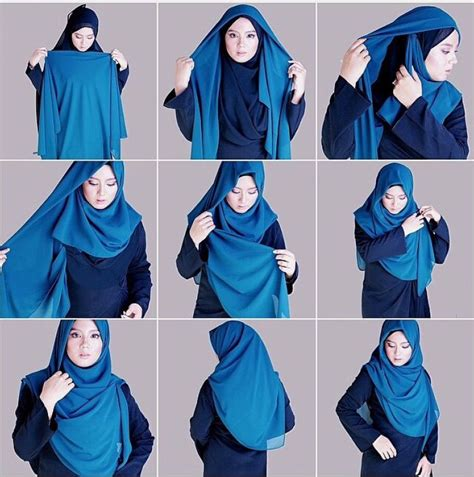 tutorial jilbab segi empat kombinasi 2 warna papasemar com 11 tutorial hijab segi empat simpel ini