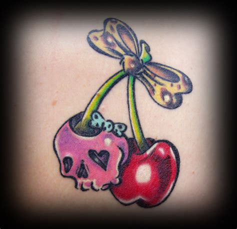 Sweet Skull And Cherry Skull Tattoo By Irreversibel Sweet Tattoos For