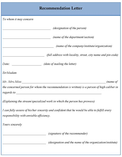 template letter recommendation commercewordpress