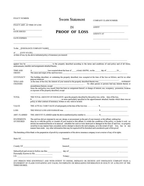 Proof Of Loss Letter Homeowners Insurers Must Furnish Blank Proof Of Loss Forms Within 60 Days Oklahoma Insurance