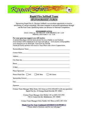 Softball Sponsorship Form Fill Online Printable Fillable Blank Pdffiller Softball Sponsorship Form Template