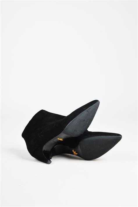 prada 890 quot nero quot black suede kitten heel ankle boots sz 5