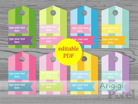 editable  file striped gift tags  spring colors