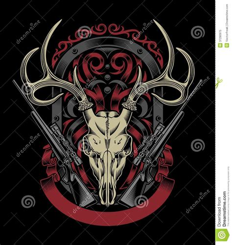 deer skull with rifle stock vector image of skull hunt