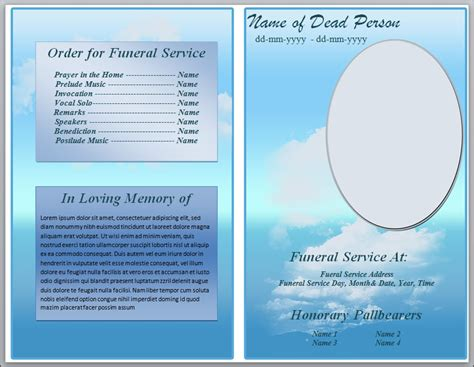 funeral templates free printable free blue cloud funeral program template for word by