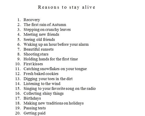 reasons to stay alive 1782115080 words of wisdom life depressed depression suicidal