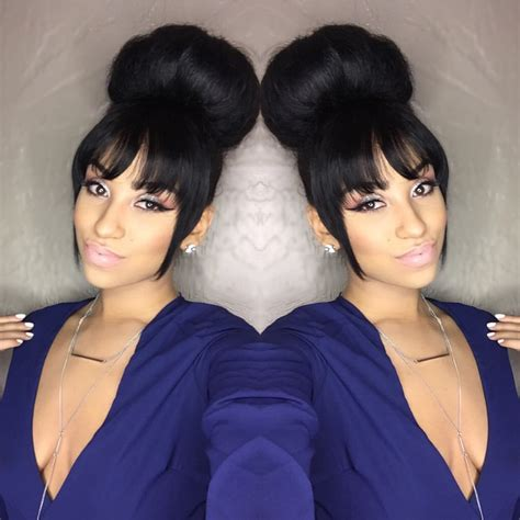 bang and bun hairstyles bun x bangs mane attraction pinterest buns bangs