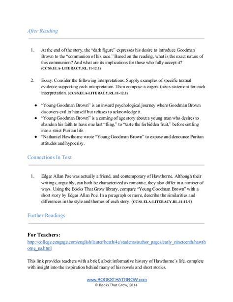 thesis statement for goodman brown goodman brown thesis statement 28 images goodman brown