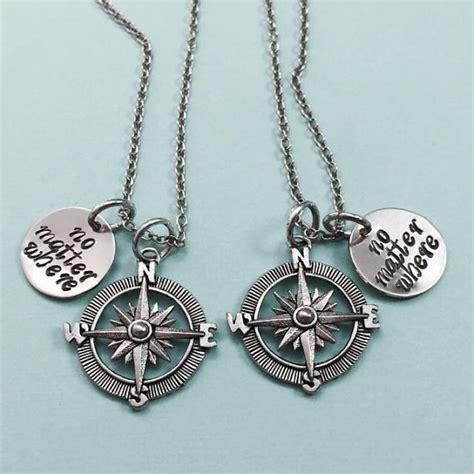 best friend necklace no matter where compass charm bff