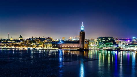 full hd wallpaper stockholm sea tower side view night