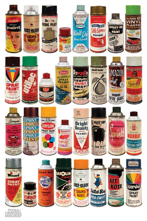 tools of criminal mischief the cans vintage spraypaint can poster set