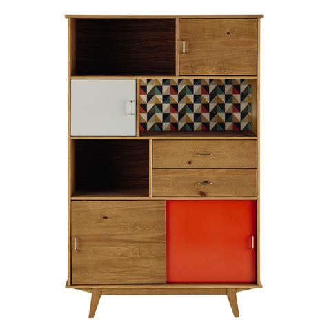 wooden vintage bookcase in grey orange w 116cm paulette