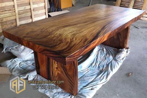 Meja Kayu Utuh Meja Kayu Solid Trembesi Utuh Furniture Jepara Klasik Perabot Mebel Ukir Minimalis