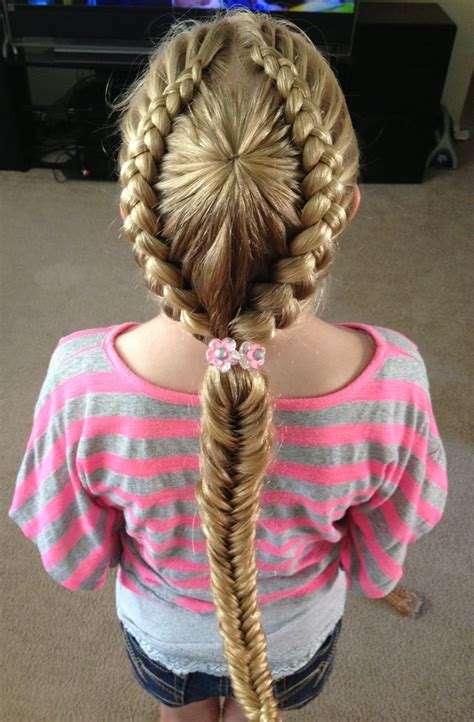 puctur of goddess braid with fishtail starburst crown braid into a fishtail ponytail my
