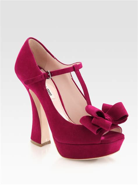 Topshop Bow Front Peep Toes by Lyst Miu Miu Suede Peep Toe Tstrap Bow Pumps In Pink