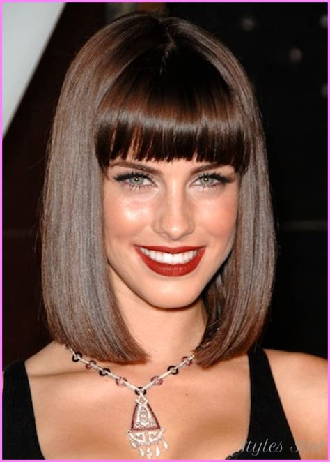 pictures of shoulder length bobs with bangs for 50 plus medium bob haircut with bangs stylesstar com