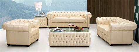 Ivory Leather Sofa Set Ivory Italian Leather Sofa Set With Buttons Raleigh Carolina Esf258
