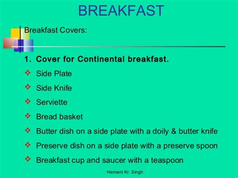 cover layout of continental breakfast breakfast