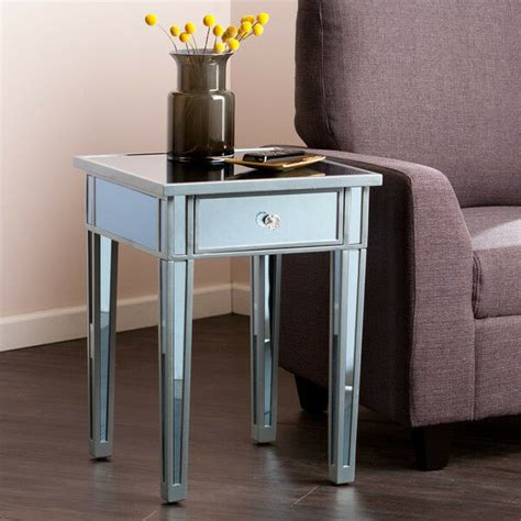 Glass Table Ls For Bedroom by Mirrored Side Table End Accent Decor Nightstand Mirror