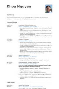 graduate student resume sles visualcv resume sles