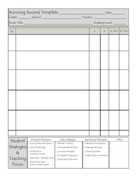running record template running record template 2 by amanda teachers pay