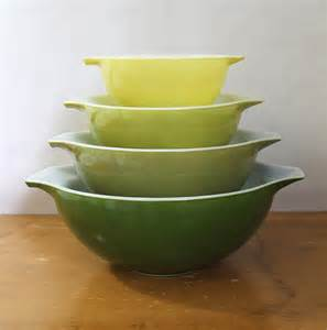 Colored Glass Kitchen Canisters pyrex verde green cinderella mixing bowls set of by gypsymouse