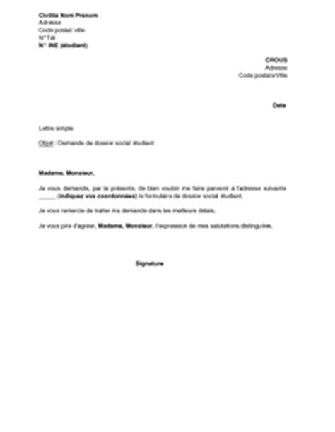 Demande De Transfert Universitaire Lettre Lettre De Demande De Dossier Social Aupr 232 S Du Crous Bourse Et Logement Mod 232 Le De Lettre